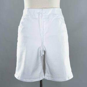 Justice Sz 18 White Fabric Drawstring Long Shorts